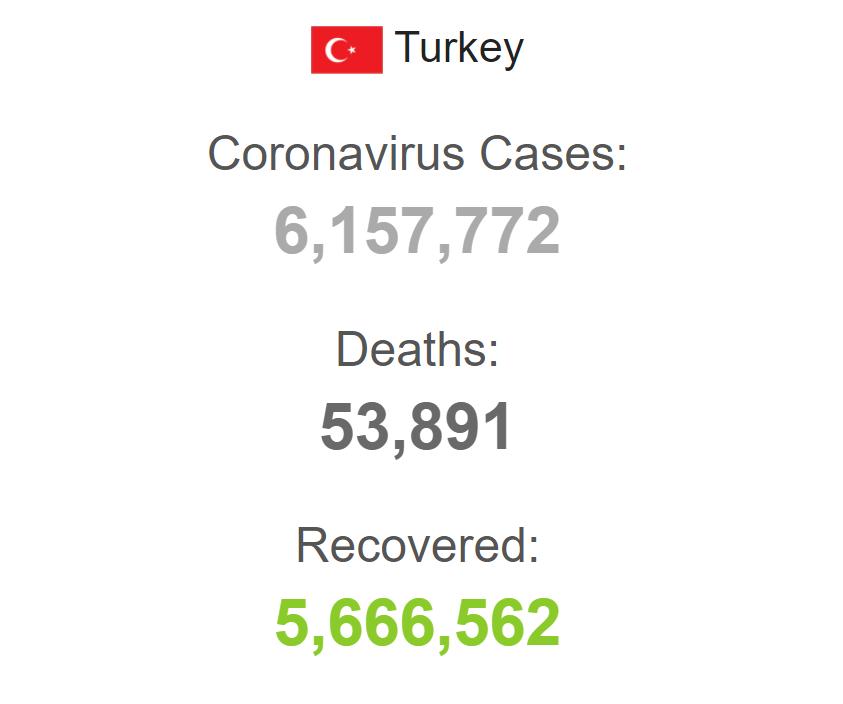 Статистика заболеваемости в Турции.