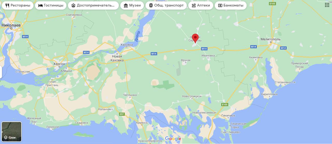 Нижні Сepогози на мапі