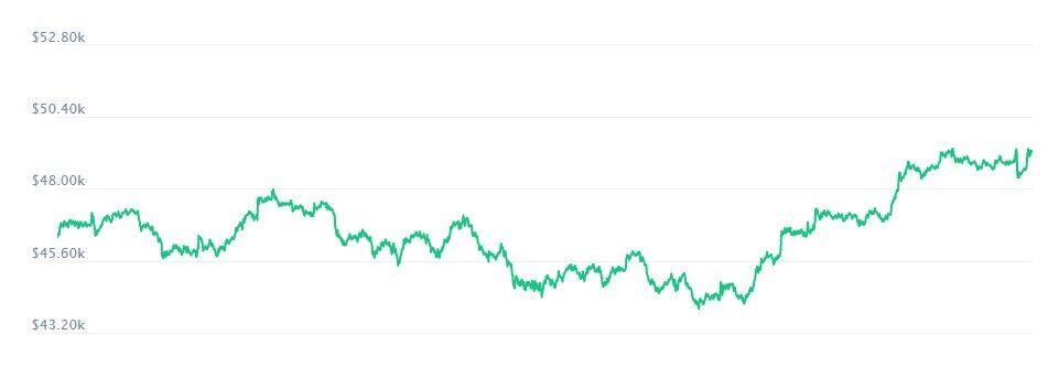 Среднерыночная стоимость биткоина выросла до 49,3 тысячи долларов
