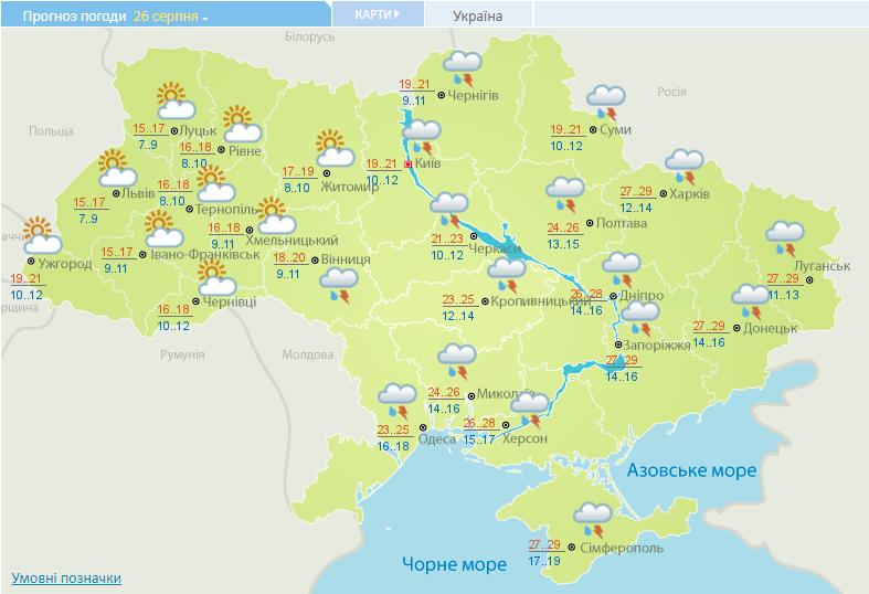 Прогноз погоды в Украине на 26 августа.
