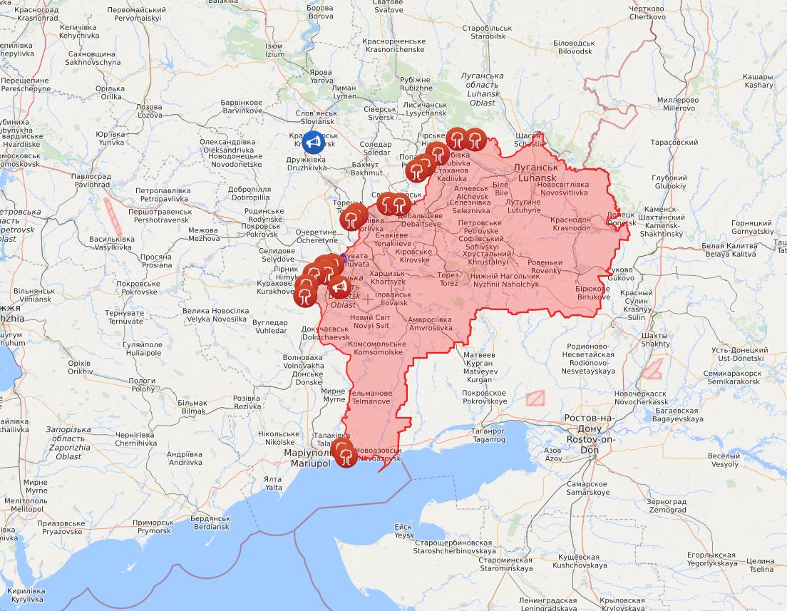Карта обстрілів з боку окупантів на Донбасі.