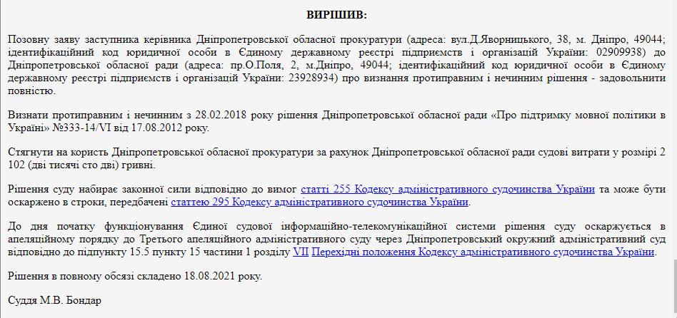 Рішення суду про статус російської мови.