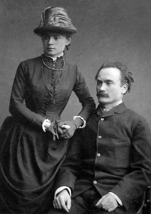 Іван Франко та його дружина Ольга Хоружинська в день їхнього весілля