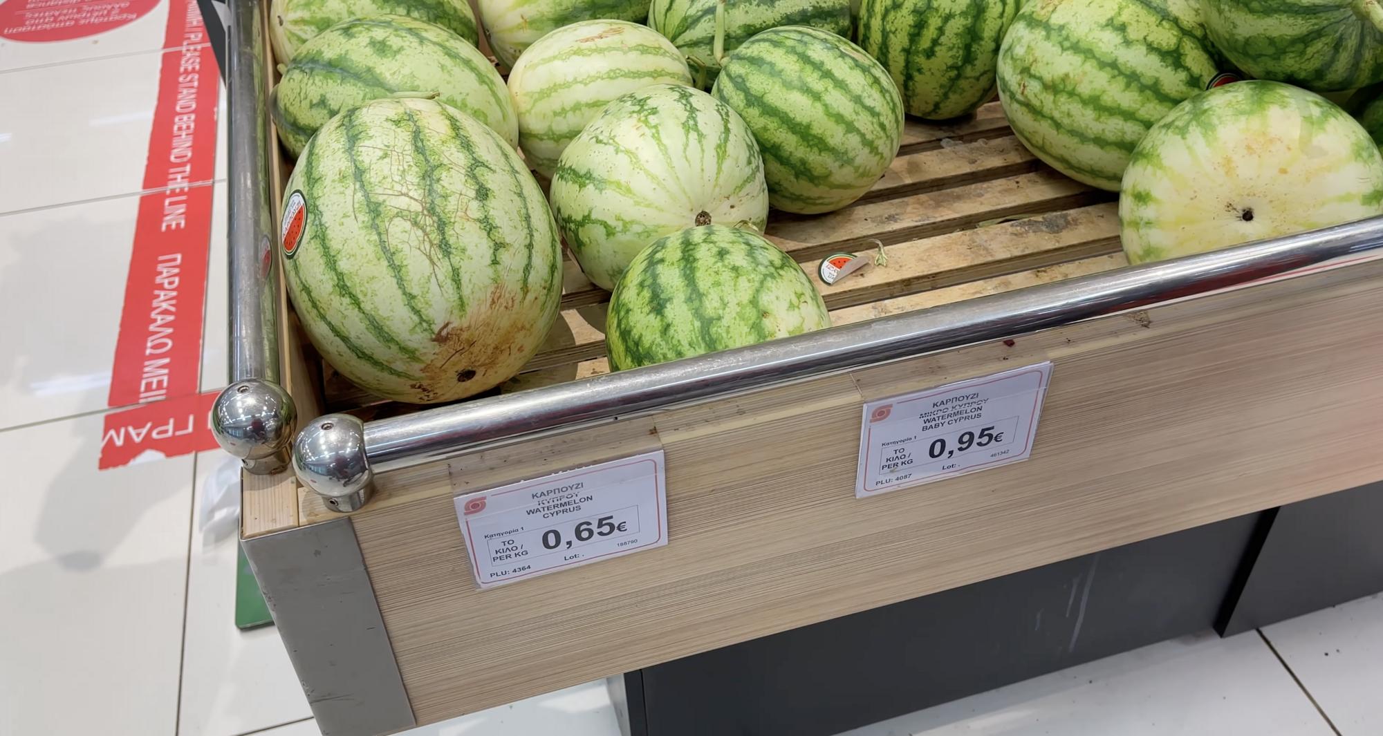 Арбузы на Кипре стоят от 20 грн за килограмм.