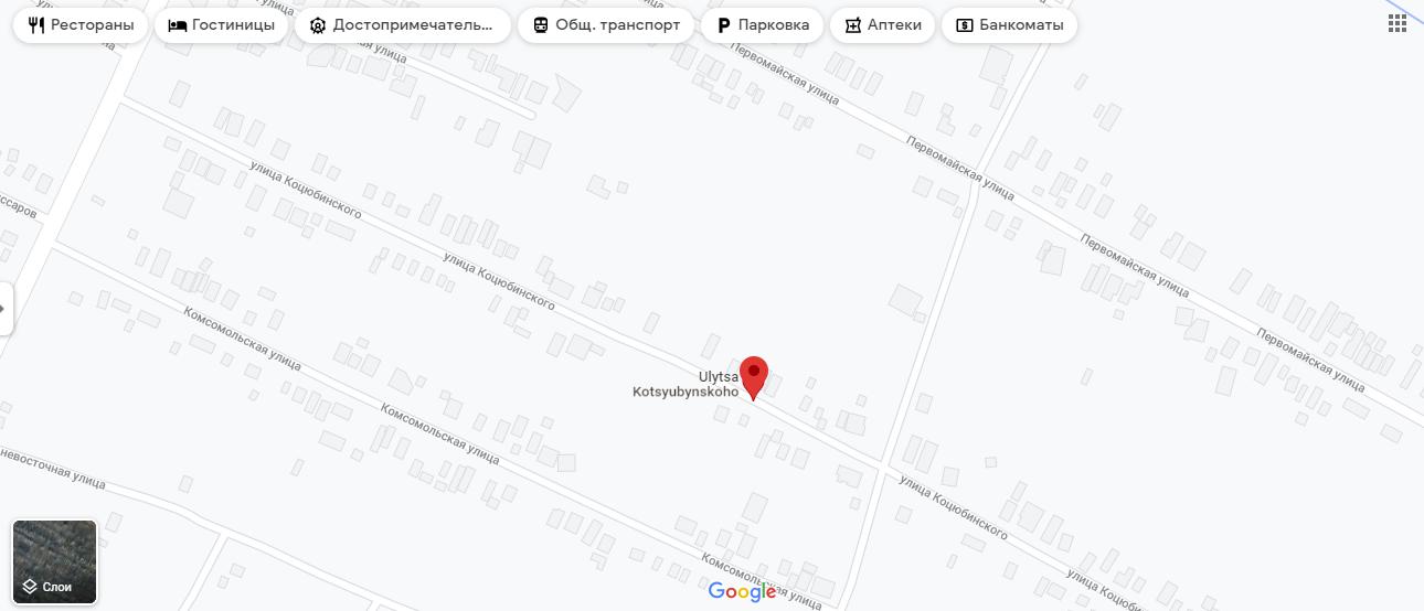 Дом, попавший под обстрел, на карте