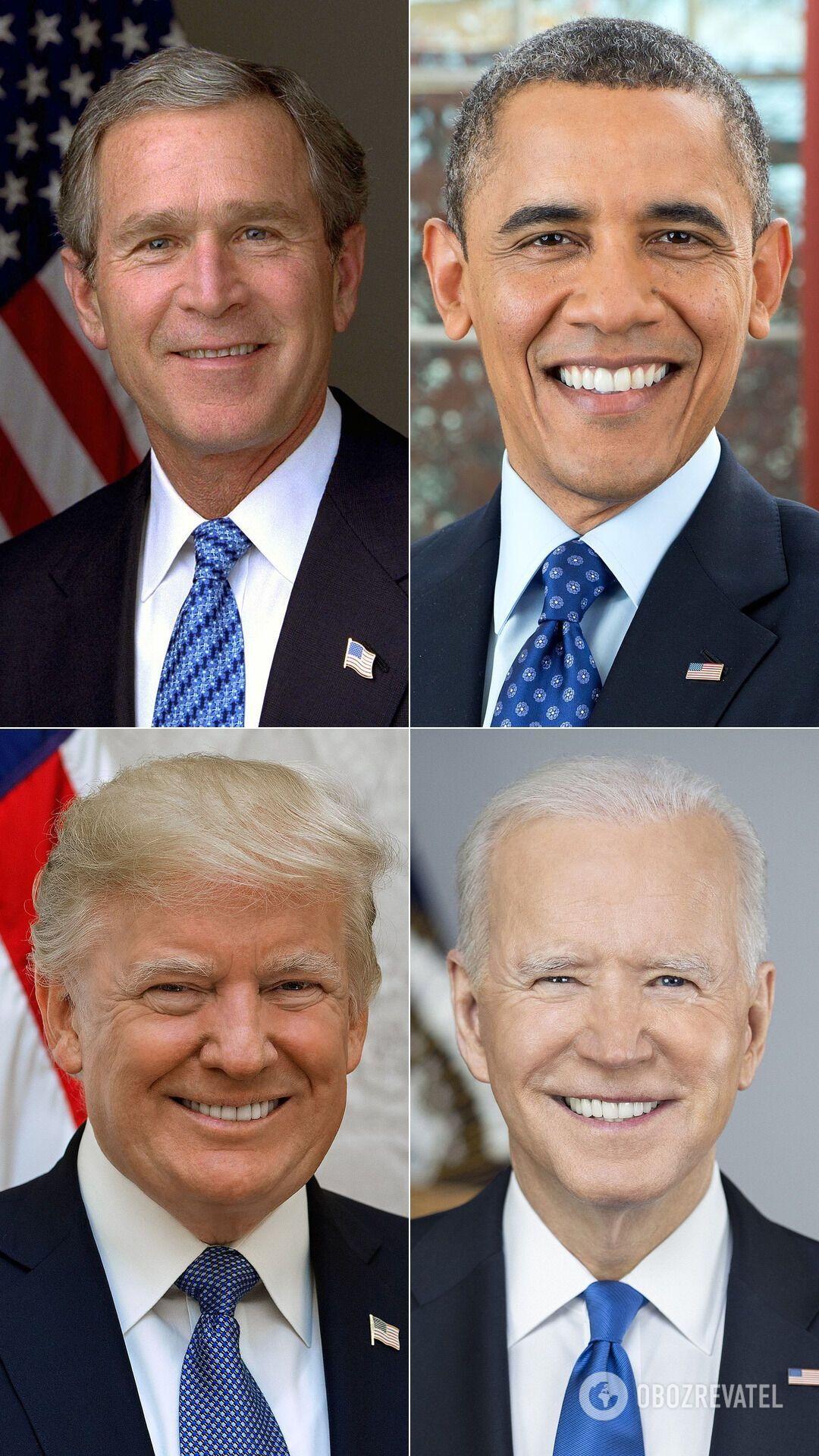 Джордж Буш; Барак Обама; Дональд Трамп; Джо Байден