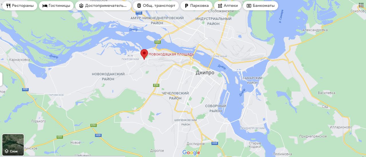 Новокодацька площа на карті