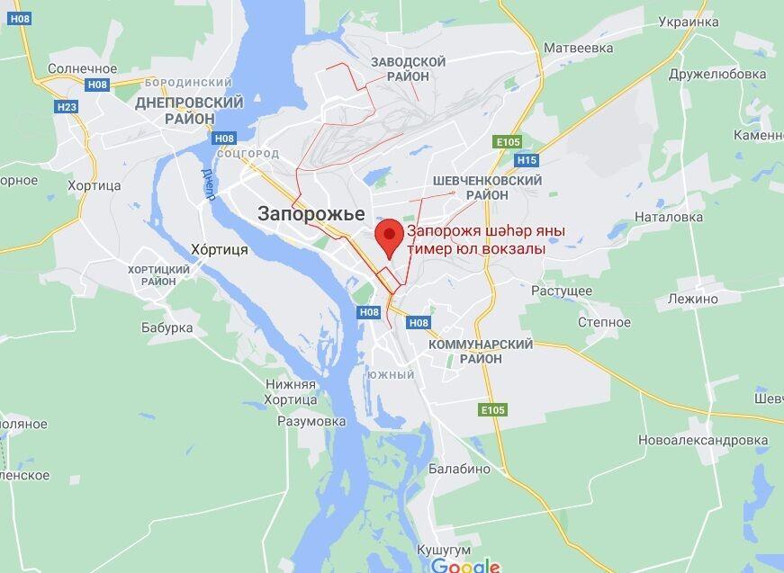 Станция Запорожье-2 на карте.