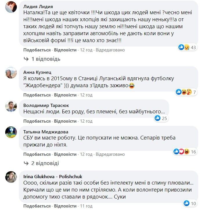 Реакція користувачів соцмережі