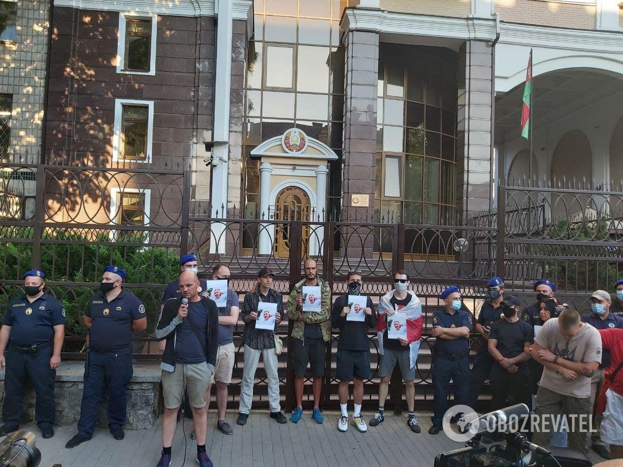 Акція під посольством Білорусі в Києві.