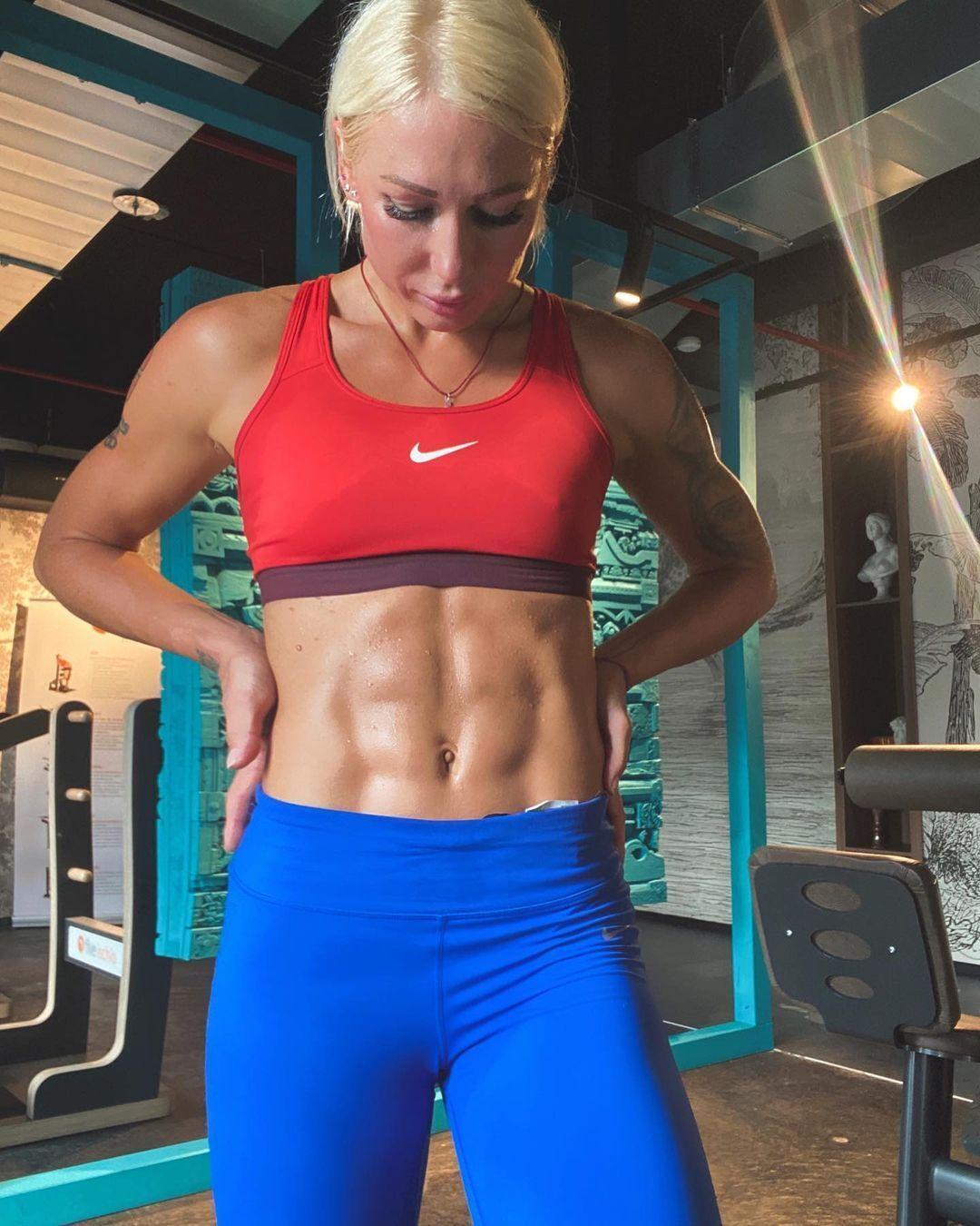 Яна Максимова во время тренировки