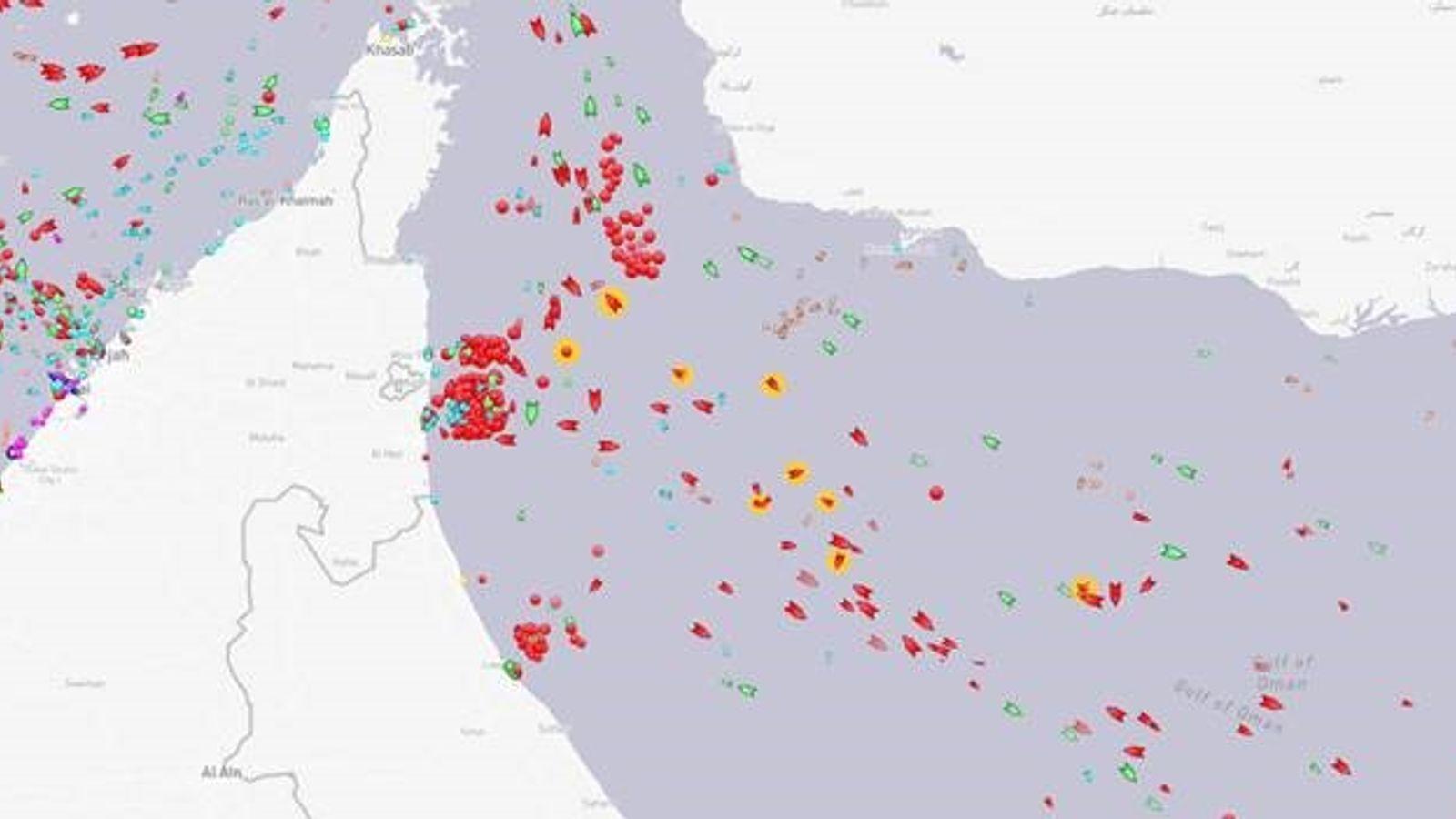 Пострадавшие судна у побережья Объединенных Арабских Эмиратов выделены оранжевым цветом