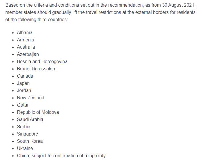 Страны, из которых сняты ограничения на въезд.