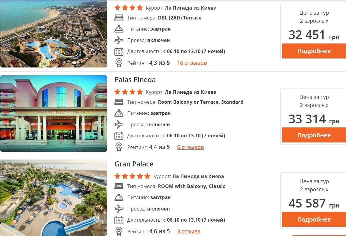Бюджетный тур на двоих на неделю в Ла Пинеда стартует от 32 тысяч гривен