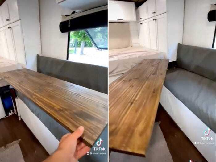 Удобная скамейка в микроавтобусе