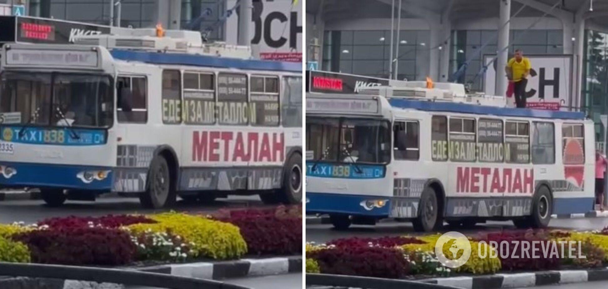 Троллейбус загорелся от удара молнии