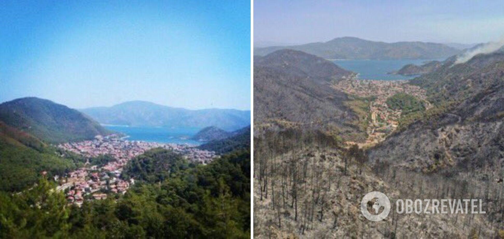 Фото до і після пожеж в Туреччині.
