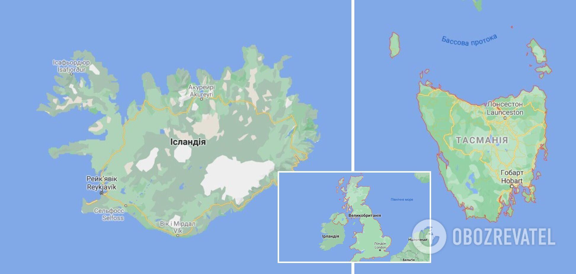 Ісландія, Ірландія й Тасманія теж увійшли до списку