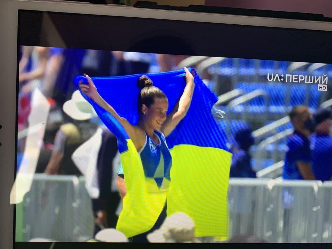 Людмила Лузан с флагом Украины