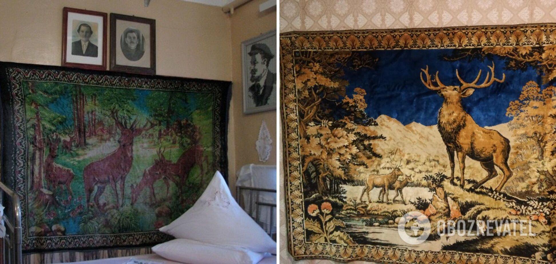 На стінах вішали килим з різноманітними малюнками