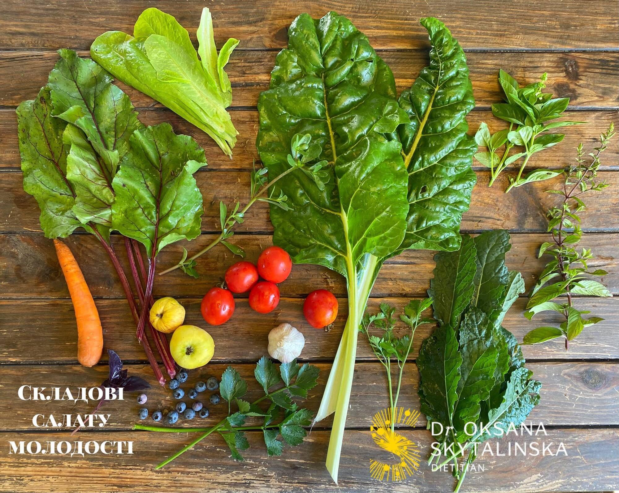Це складові мого щоденного салату.