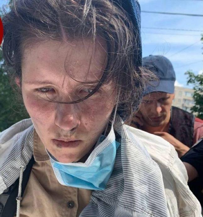 Девушка, которая пыталась ограбить банк в Киеве.