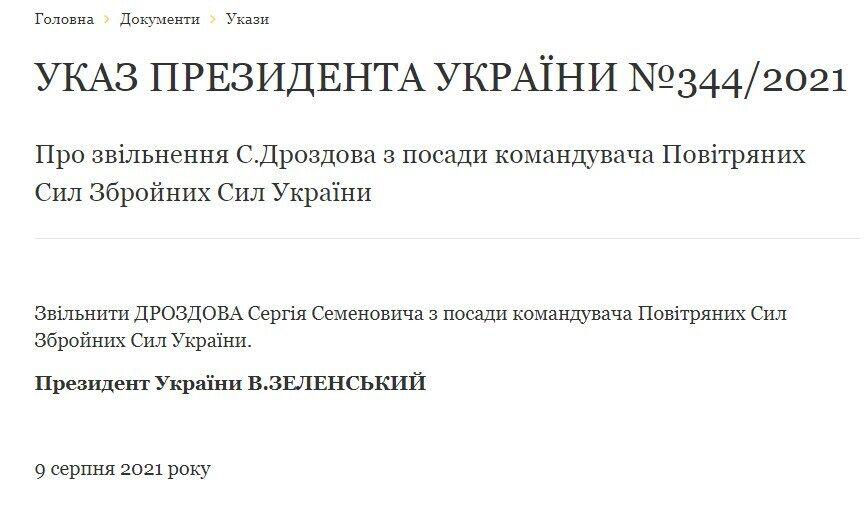Указ про звільнення Сергія Дроздова.
