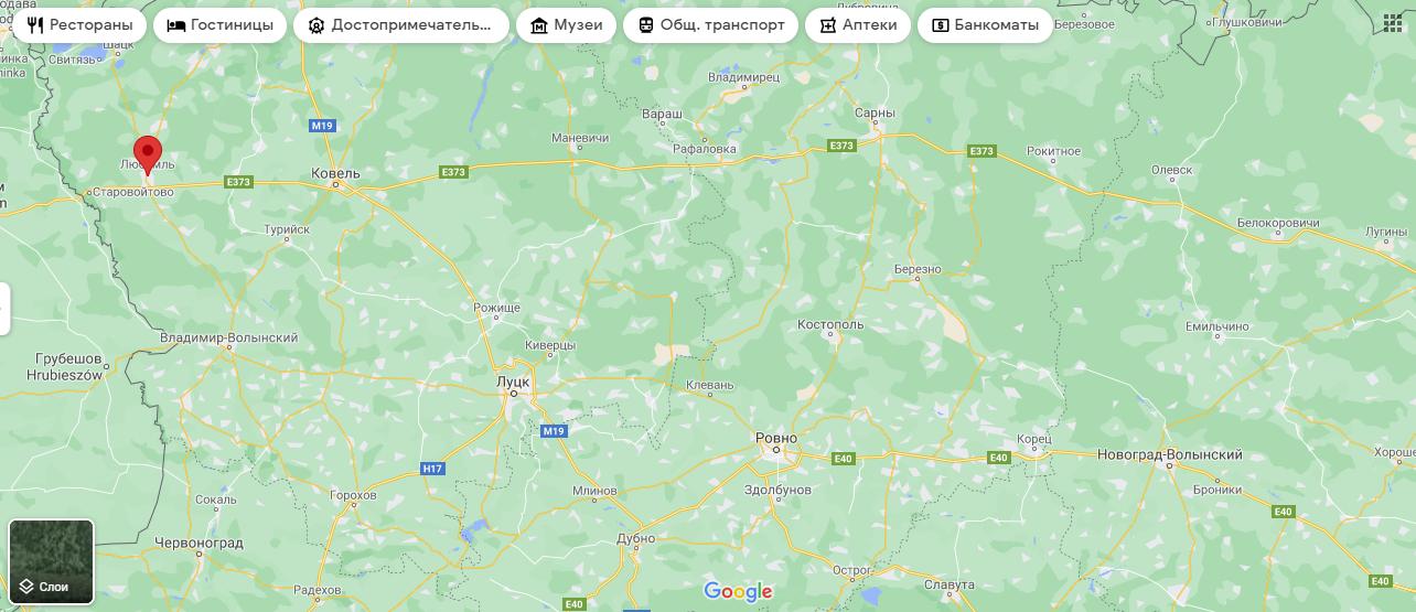 Любомль на карте