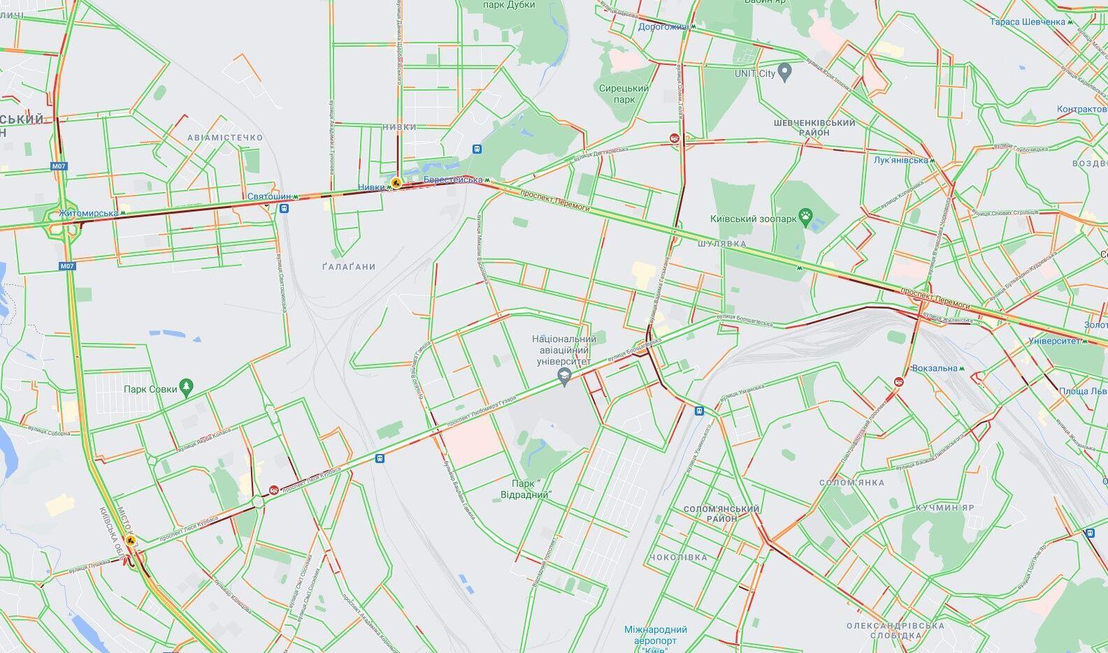 Проспекти Перемоги, Курбаса та центр столиці.
