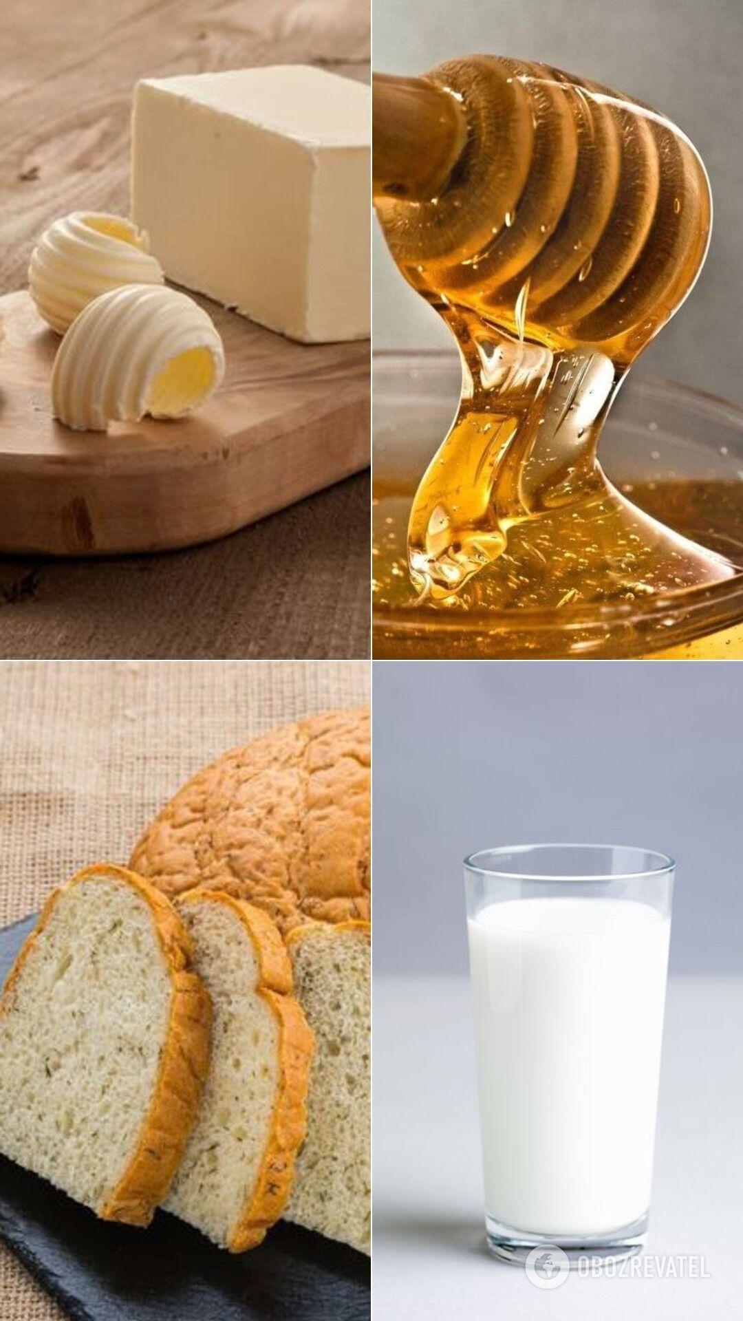 Сочетание масла, молока, хлеба и меда