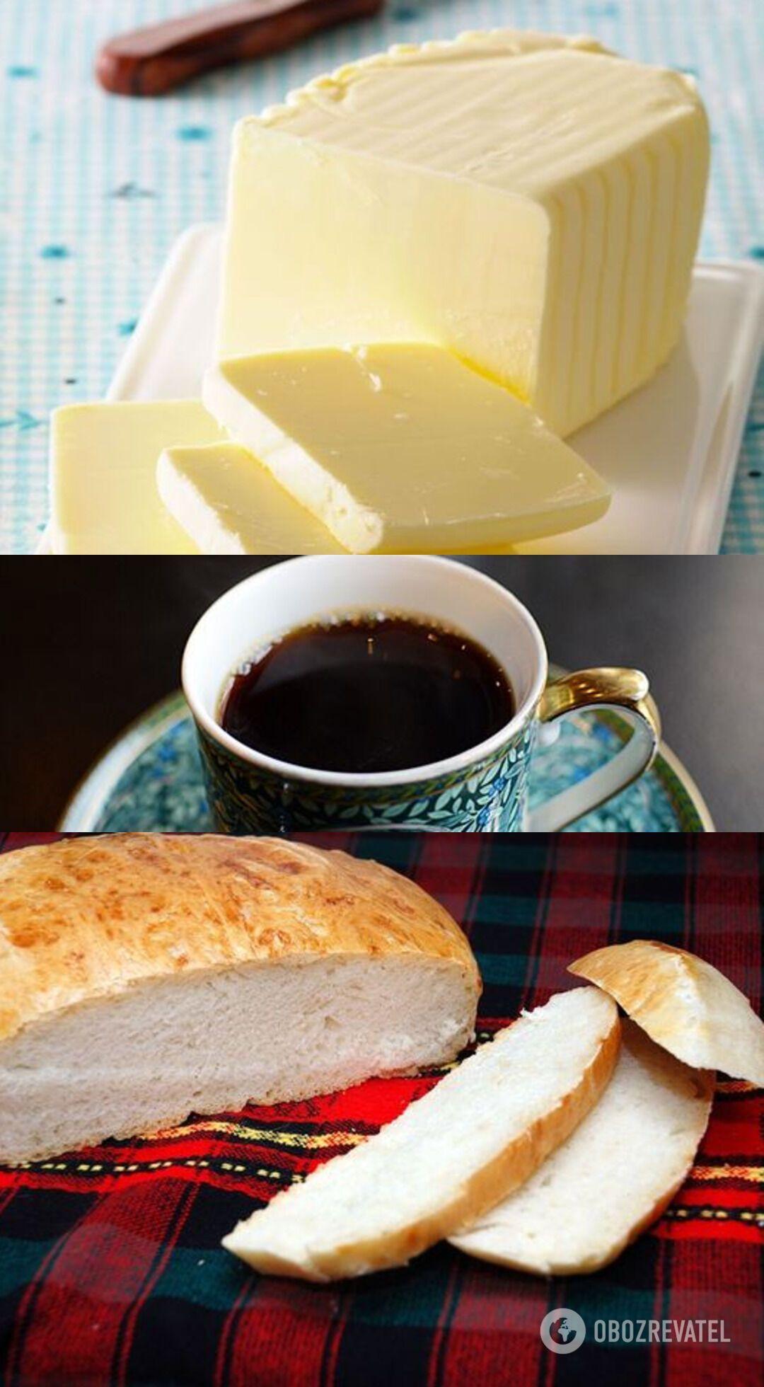 Сочетание белого хлеба, масла и чая