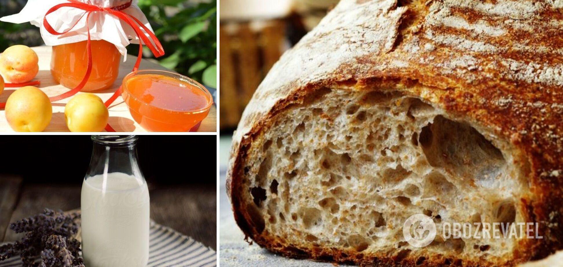 Сочетание абрикосового варенья, хлеба и молока