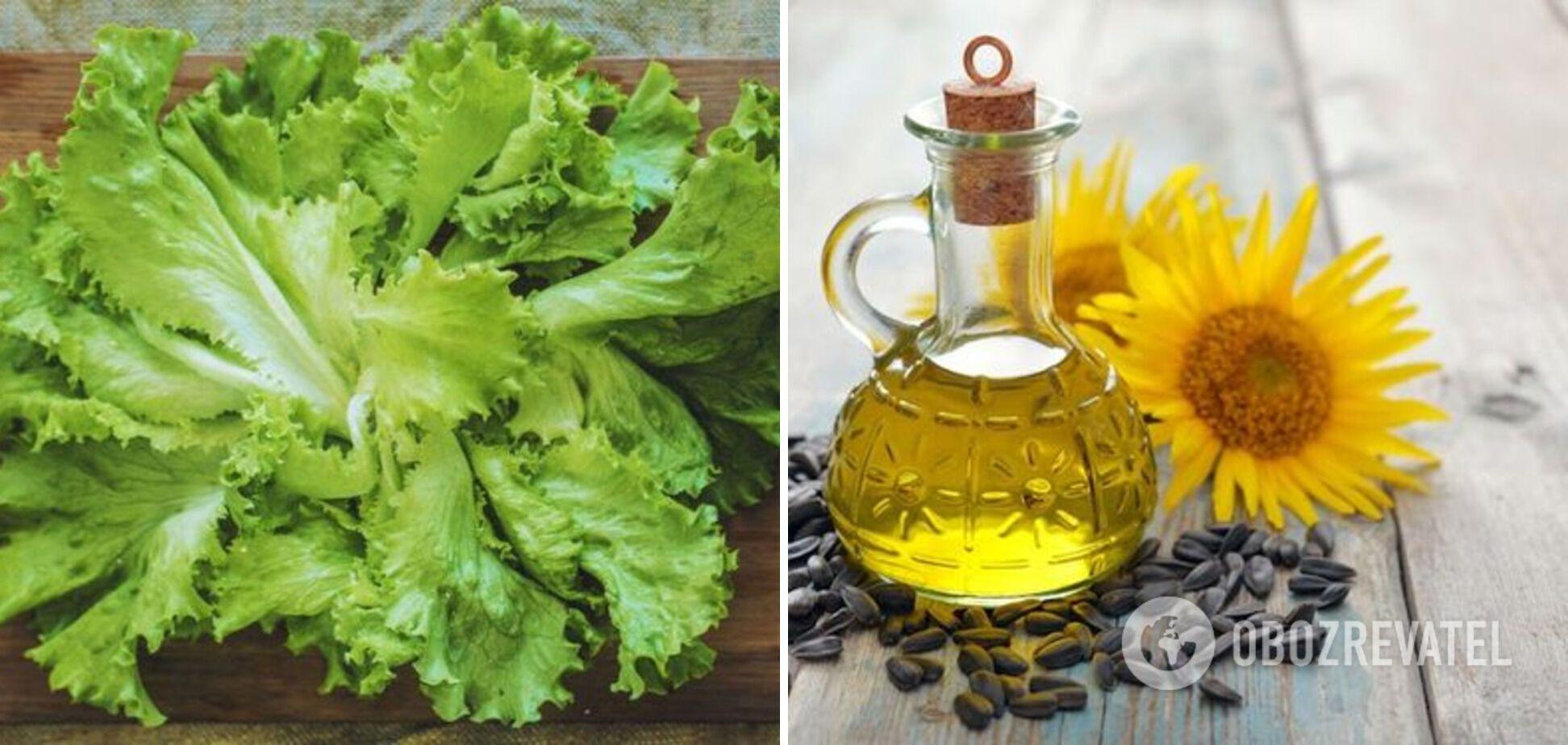 Сочетание Листьев салата и подсолнечного масла