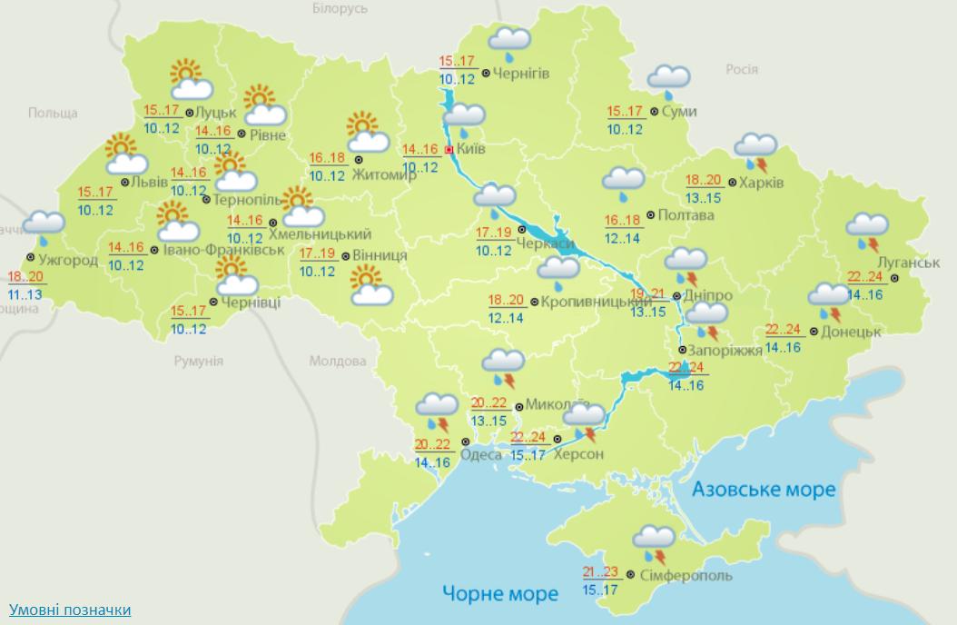 Погода в Украине 2 сентября.