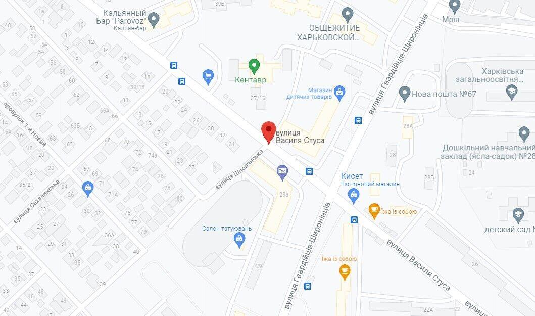 Будмайданчик розташовано на вулиці Василя Стуса в Харкові
