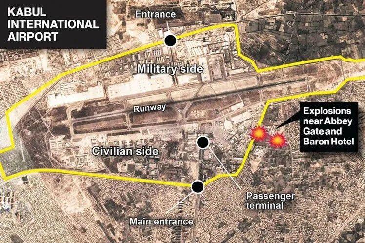 Места взрывов в Кабуле