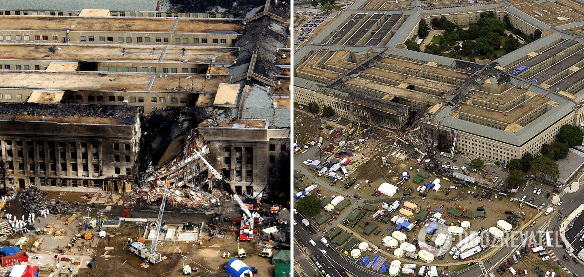 Здание Пентагона после атаки террористов