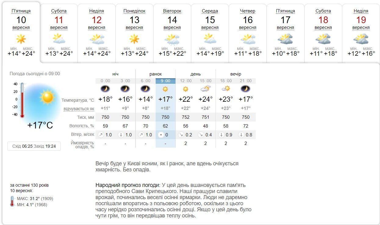 В течение 10 дней погода будет теплой и комфортной.