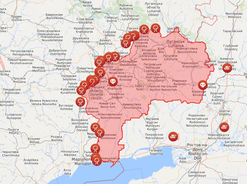 Карта обстрілів на Донбасі.