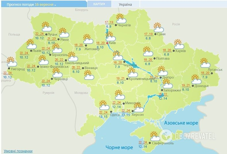 Прогноз Укргидрометцентра на 16 сентября.