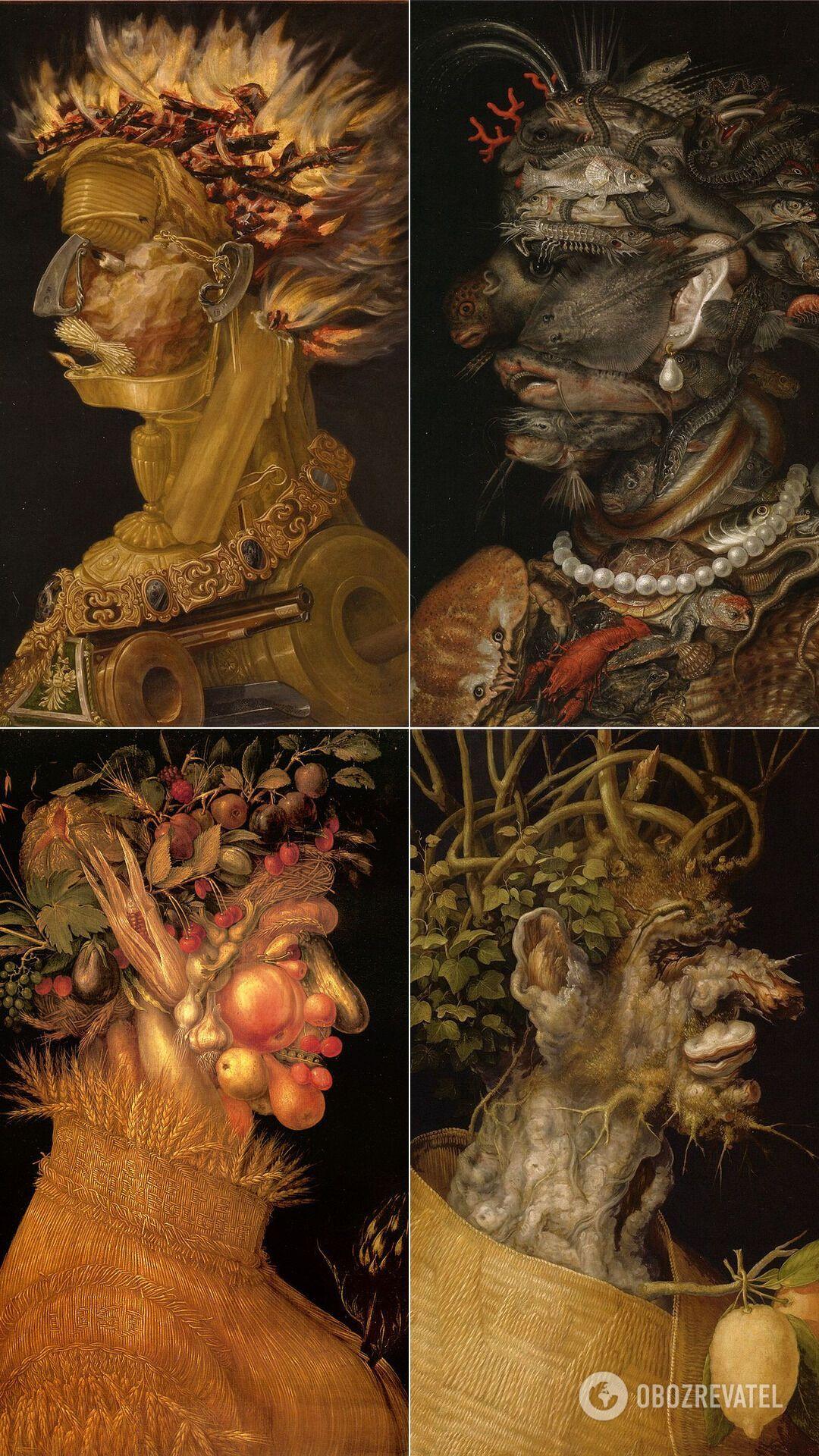 """""""Огонь"""", """"Вода"""", """"Лето"""" и """"Зима"""" – причудливые и загадочные работы художника-маньериста Джузеппе Арчимбольдо."""