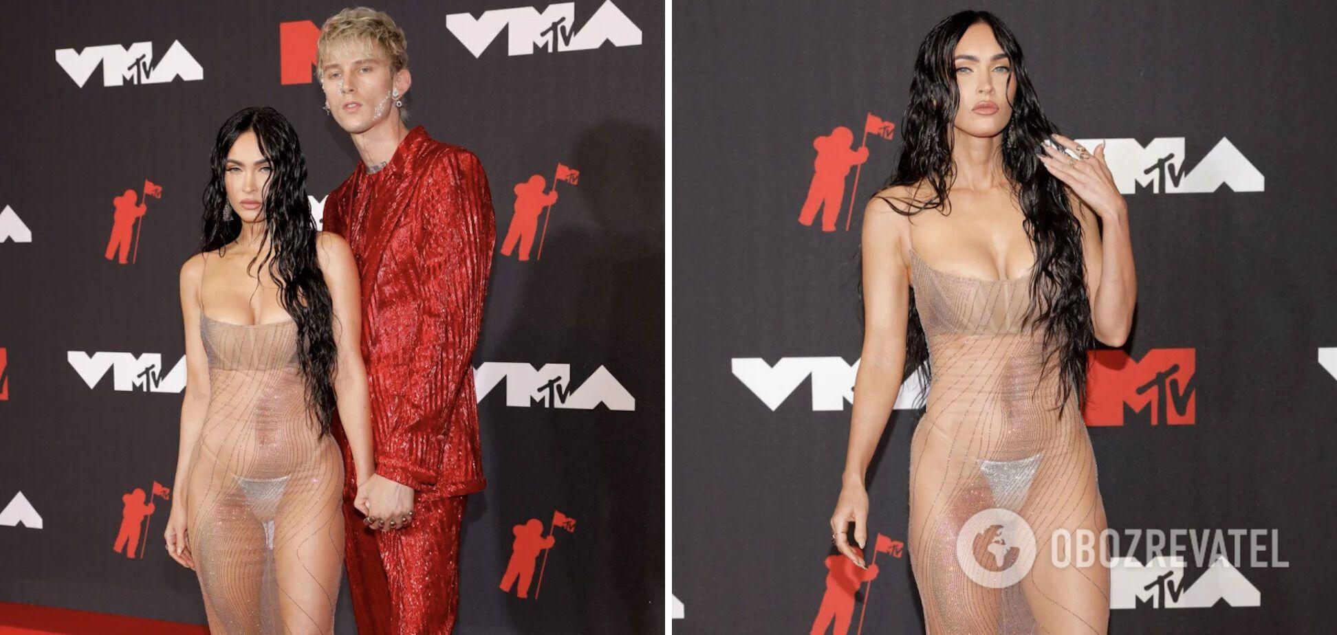 Меган Фокс вышла на красную дорожку в прозрачном платье.