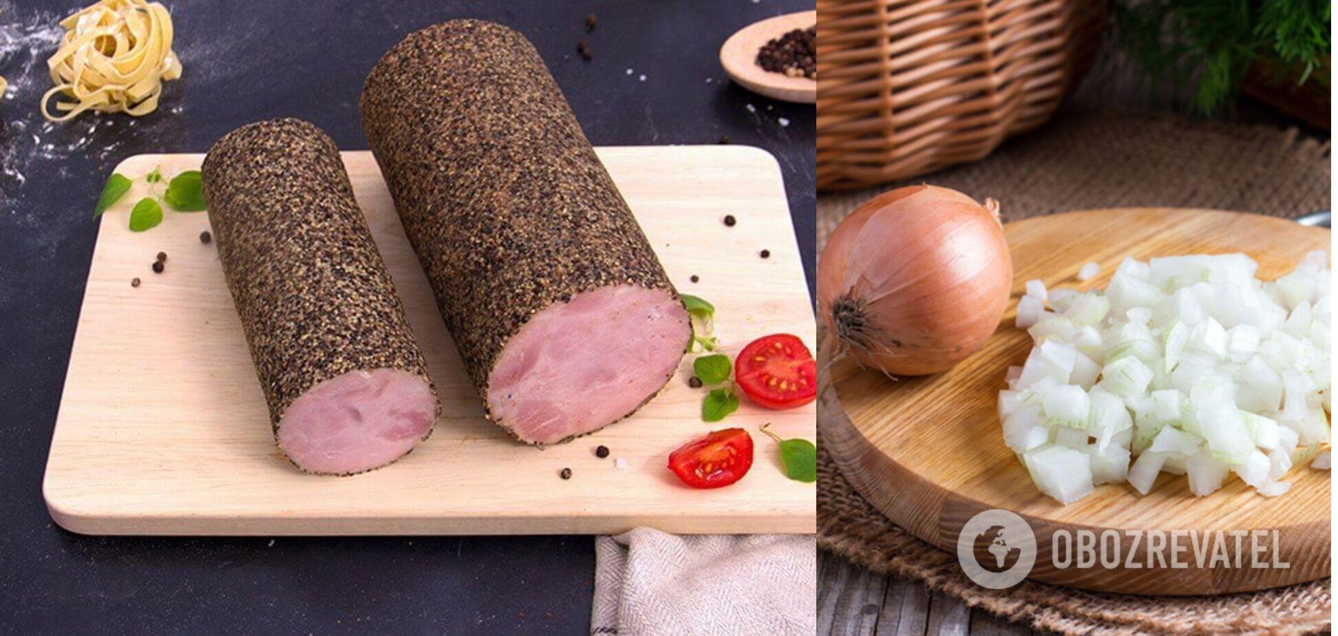 Ингреденты для запеканки – мясо и лук