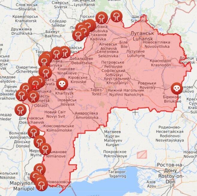 Карта обстрілів на Донбасі