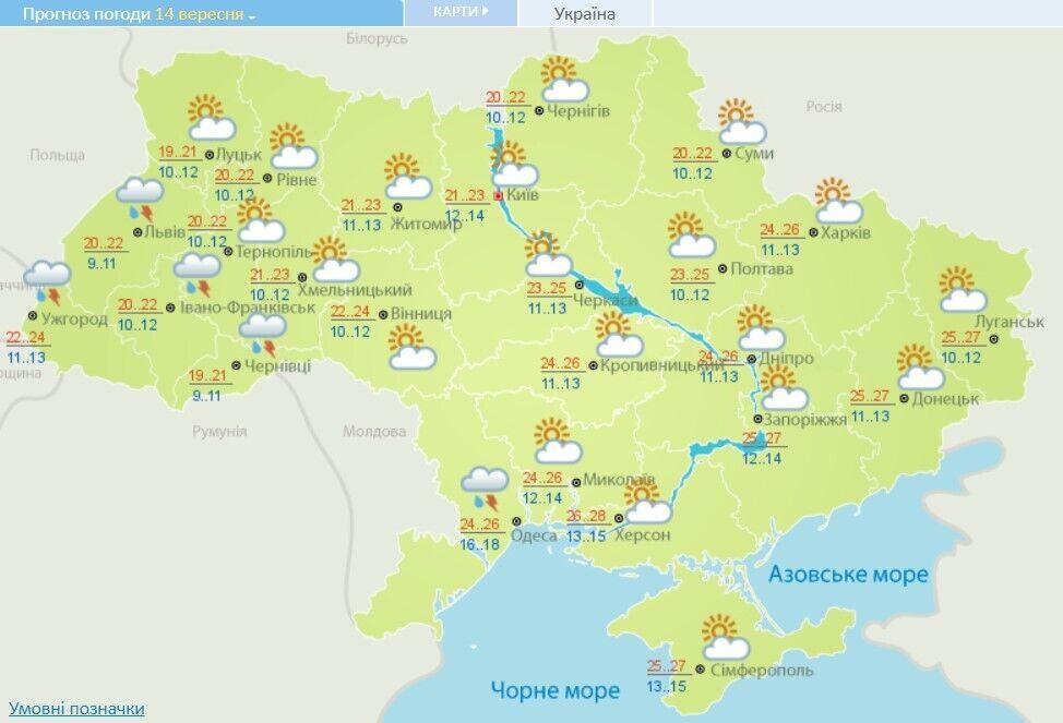 Прогноз погоды в Украине на 14 сентября