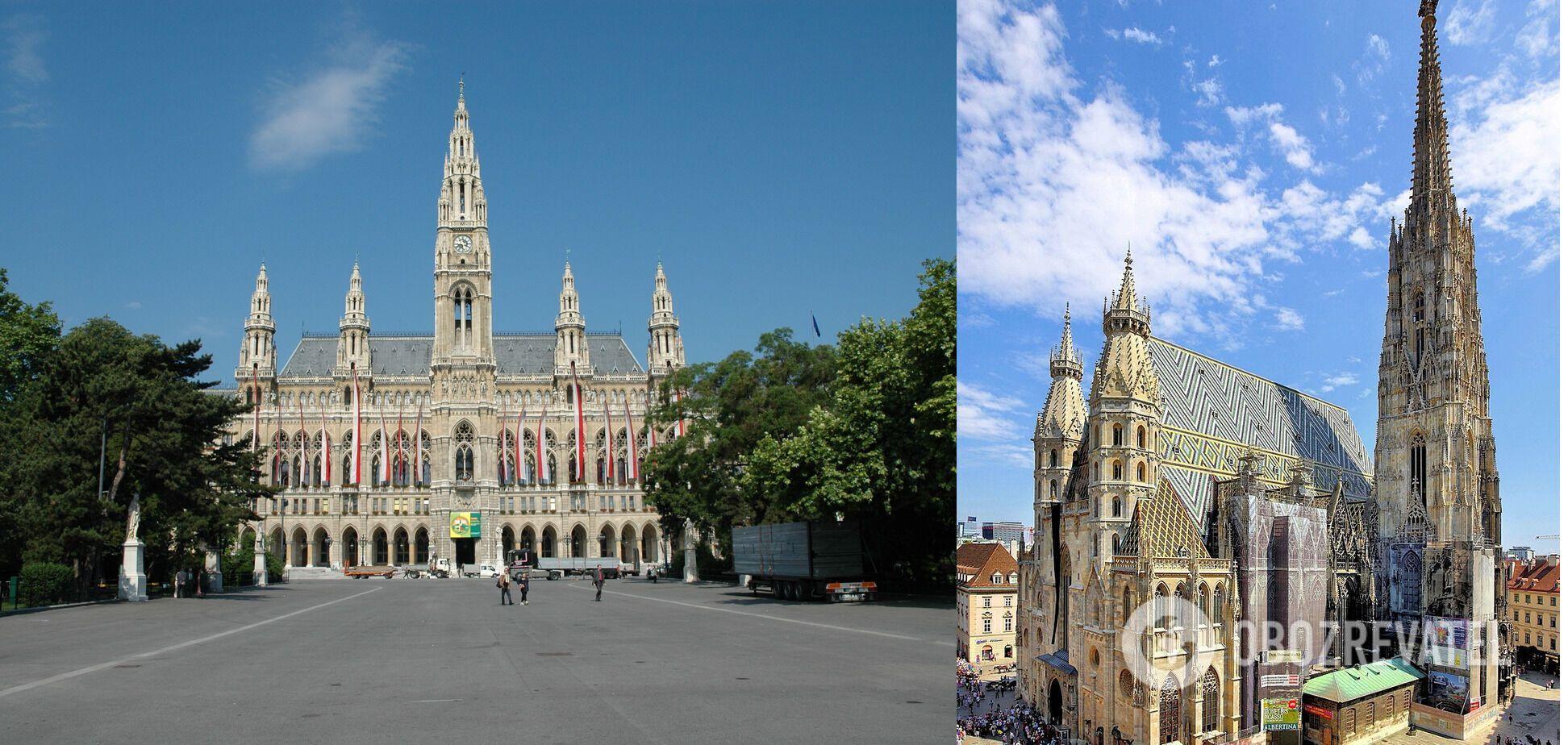 Венская ратуша и готический Штефансдом с его 137-метровой башней.