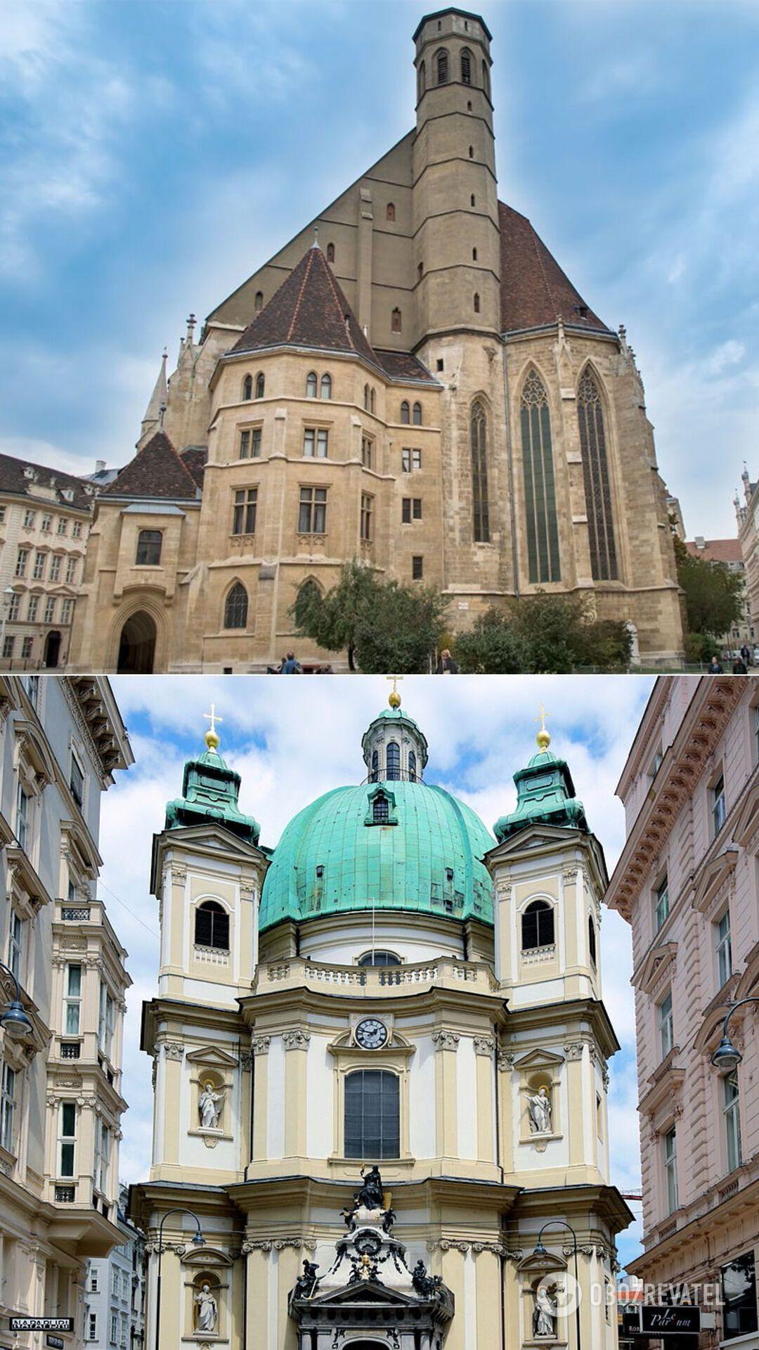 Похожая на космический корабль церковь миноритов и Петерскирхе, где проходят прекрасные концерты органной музыки.