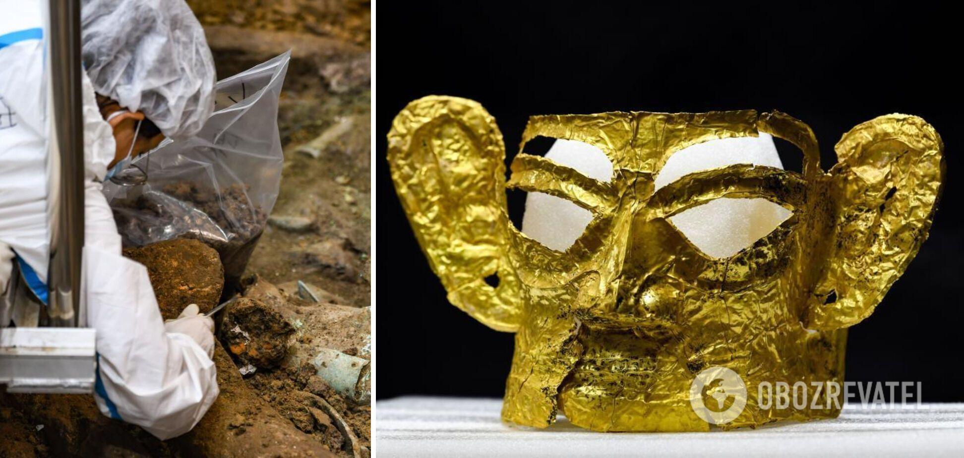Золотую маску нашли в жертвенной яме