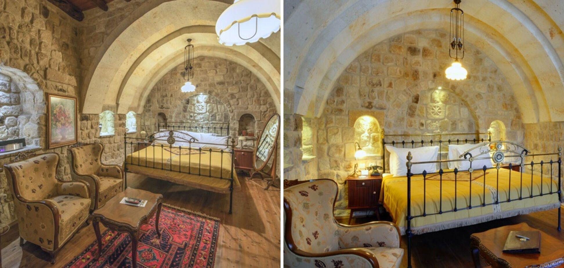 Номера в пещерных отелях своеобразные, но уютные.