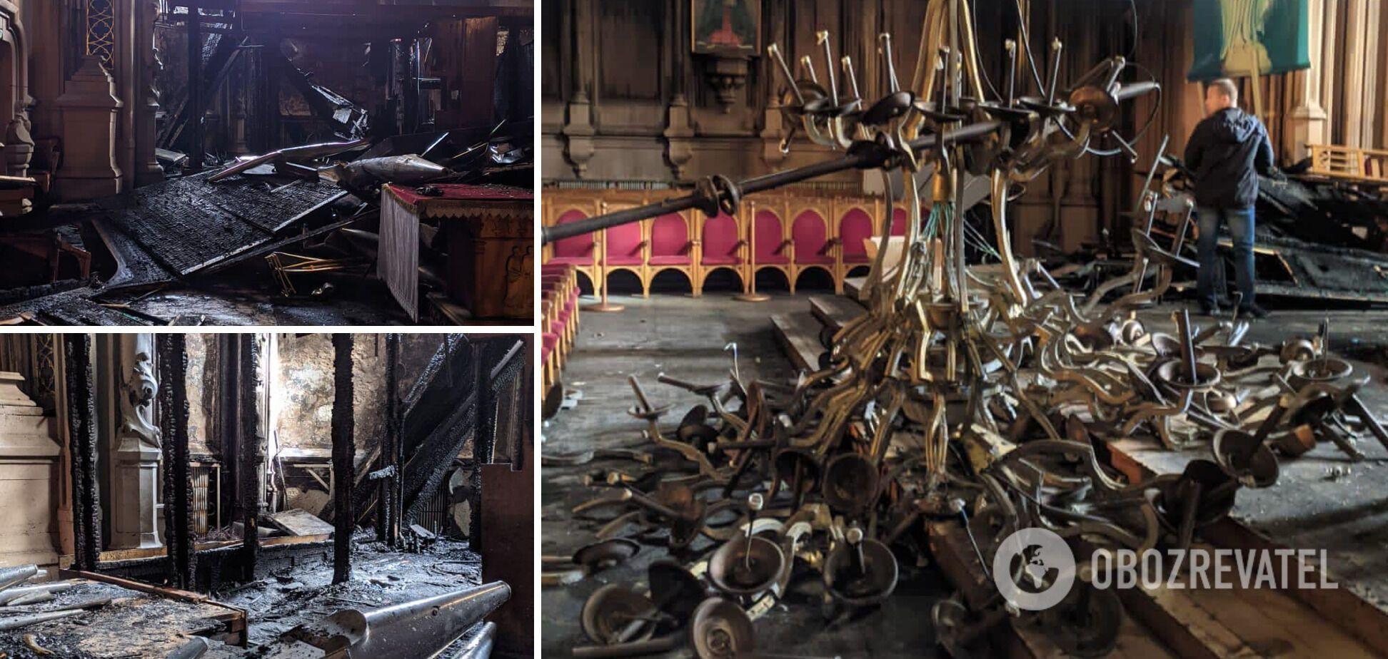 В результате пожара сгорел орган и упала люстра.